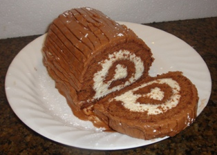 Chocolate yule log cake